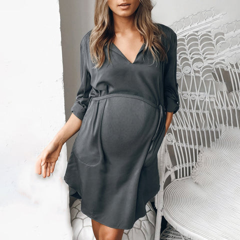 Maternity Dress Grey Lace Long Sleeve Dress