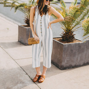 Maternity Breasted Off-Shoulder Sexy Striped Jumpsuit