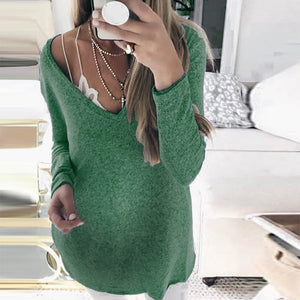 Maternity V Neck Solid Colour Loose Sweater