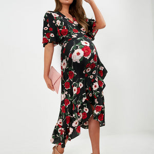 Maternity retro floral printed halflong sleeves irregular dress