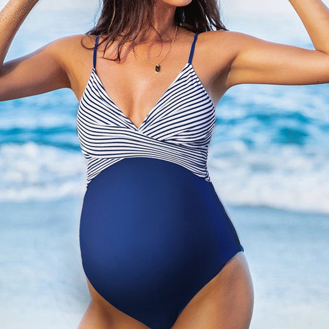 Maternity Sexy Striped Halter Splicing Suit