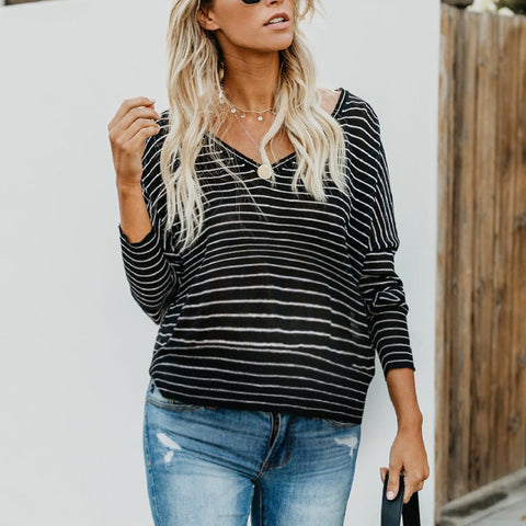 Maternity Striped loose long-sleeved T-shirt