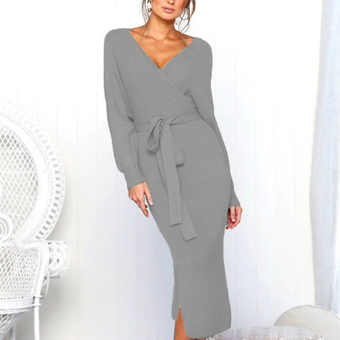 Sexy V-Neck Lace Long Sleeve Ladies Dress