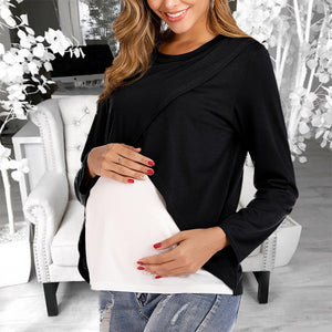 Maternity Fashion Color Matching Round Neck T-shirt