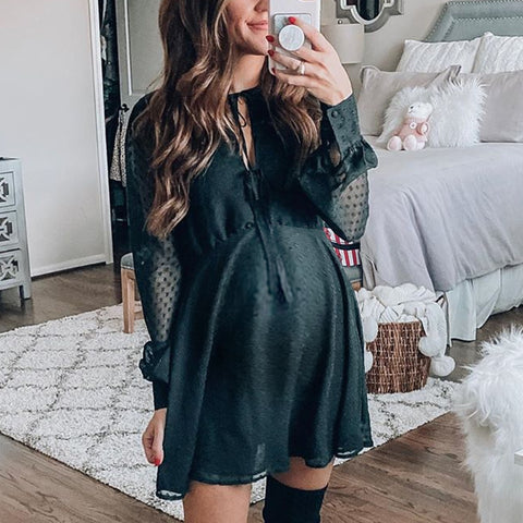 Maternity round neck long sleeve mini dress