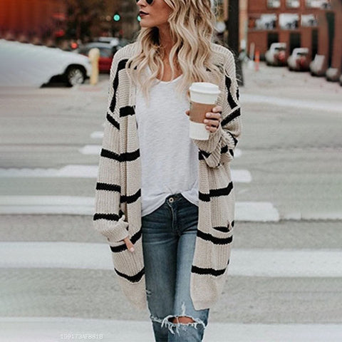 Loose Fitting  Striped  Basic Cardigans