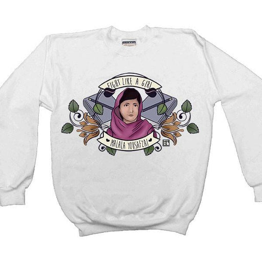 Fight Like A Girl (Malala) -- Women's Sweatshirt - Feminist Apparel - 1