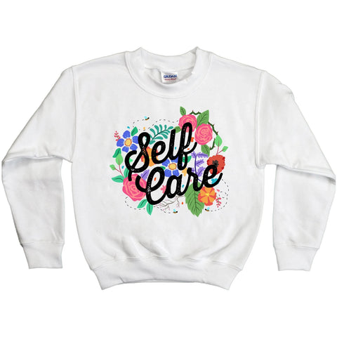 Self Care - Flowers -- Youth Sweatshirt