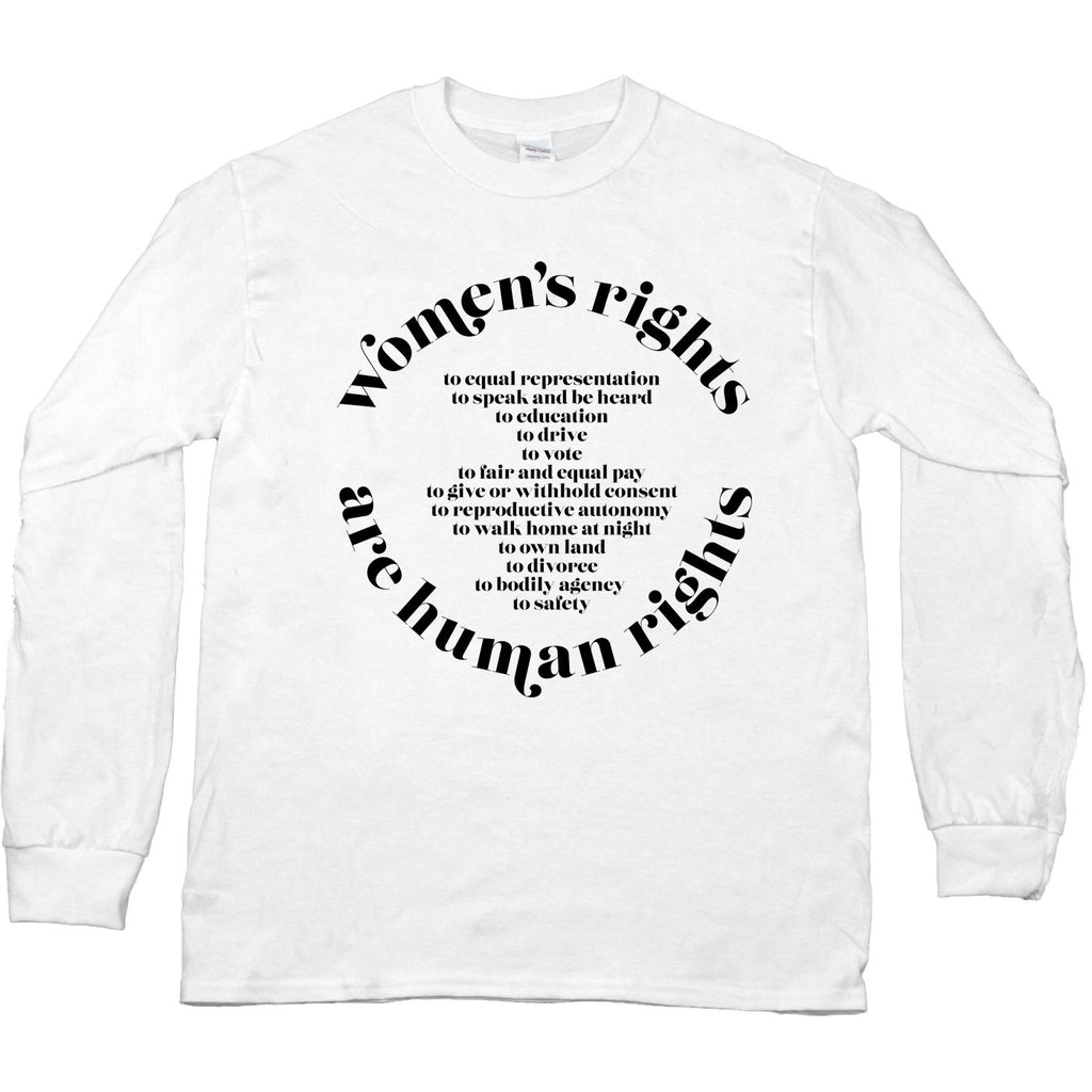 "Black garment with white text that says ""women"