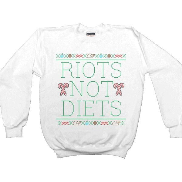 Riots Not Diets Cross-Stitch -- Women's Sweatshirt - Feminist Apparel - 2