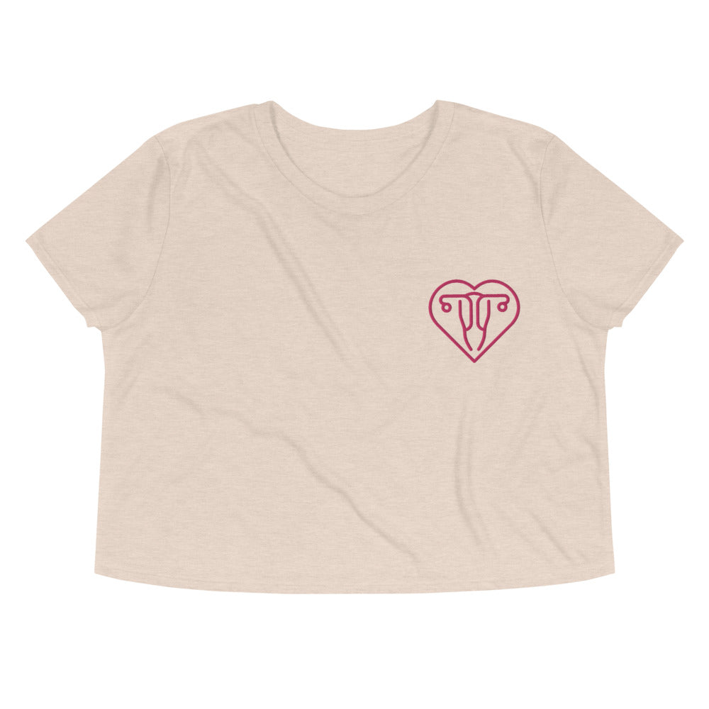 Uterus Love -- Embroidered Crop Top