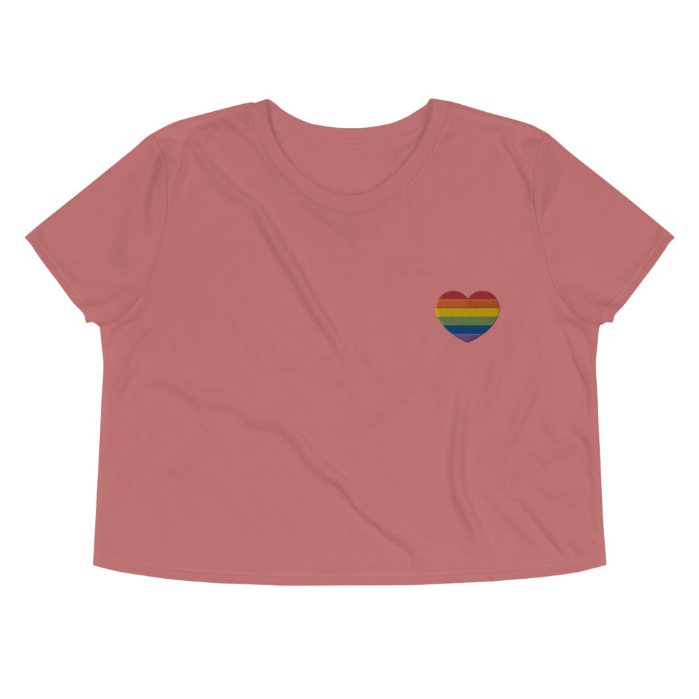 LGBTQIA+ Heart -- Embroidered Crop Top