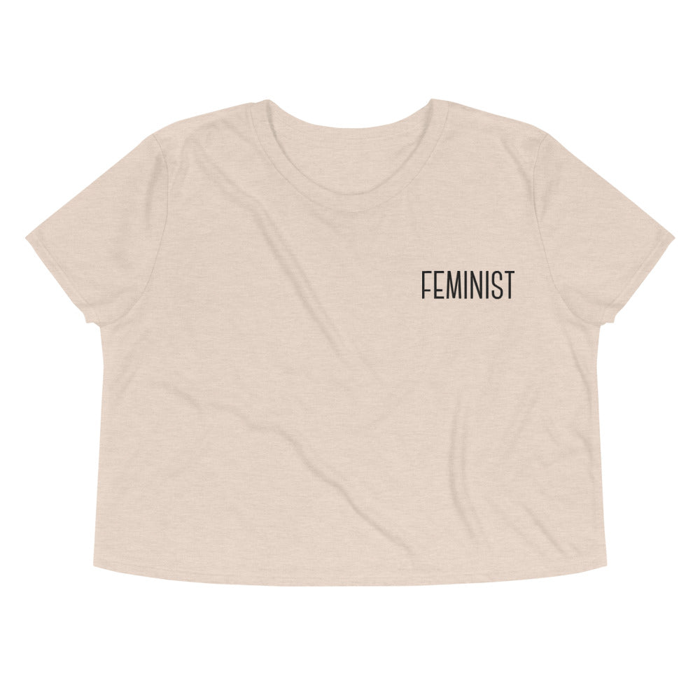 Feminist -- Embroidered Crop Top