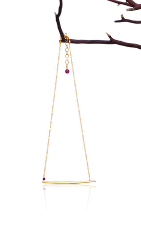 Birthstone RUBY JULY Dagger Necklace