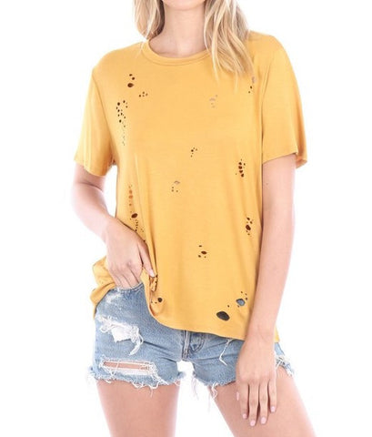 Diecut Distress Tee with Open Back - Mustard