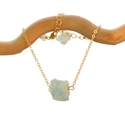 AQUAMARINE CHUNK GOLD FILLED NECKLACE