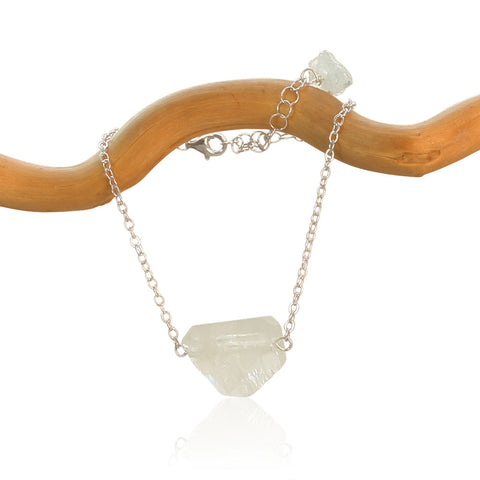 AQUAMARINE CHUNK STERLING SILVER NECKLACE