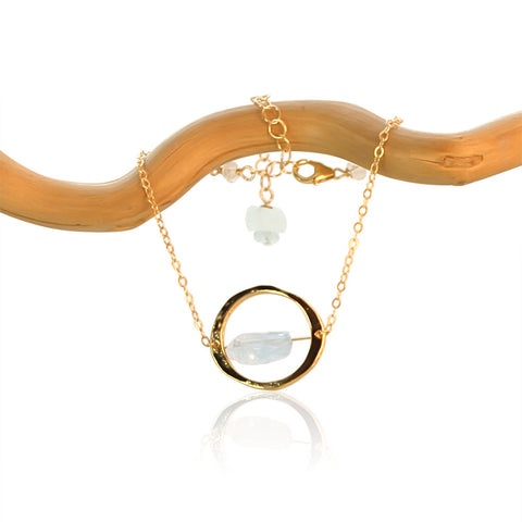 AQUAMARINE HALO GOLD FILLED+PLATED BRACELET