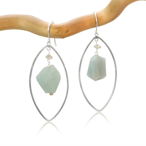 AQUAMARINE LG EYE FAUCET DROP STERLING SILVER EARRINGS
