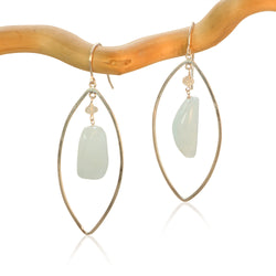 AQUAMARINE LG EYE FANCY DROP STERLING SILVER EARRINGS