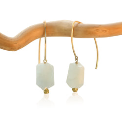 AQUAMARINE HOOK FAUCET DROP GOLD FILLED+PLATED EARRINGS