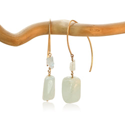 AQUAMARINE HOOK 2 FANCY DROP GOLD FILLED+PLATED EARRINGS