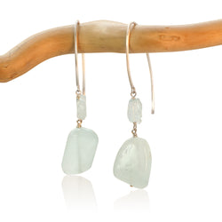 AQUAMARINE HOOK 2 FANCY DROP STERLING SILVER EARRINGS