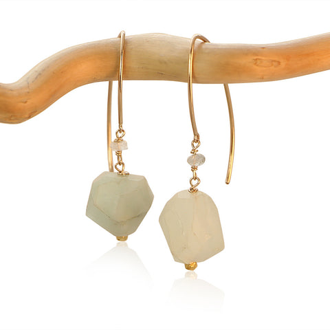 AQUAMARINE HOOK 2 FAUCET DROP GOLD FILLED+PLATED EARRINGS