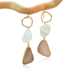 AQUAMARINE FANCY KARMA TRIANGLE DRUZY DROP GOLD FILLED+PLATED EARRINGS