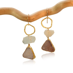 AQUAMARINE RAW CHUNK KARMA TRIANGLE DRUZY DROP GOLD FILLED+PLATED EARRINGS
