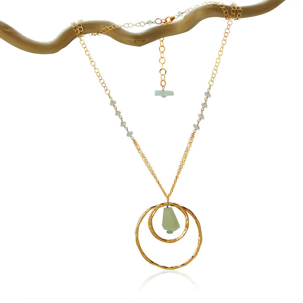 AQUAMARINE 2 CIRCLES SM & LG GOLD FILLED+PLATED NECKLACE