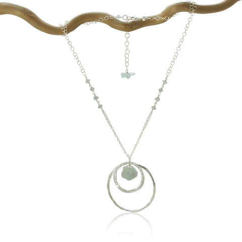 AQUAMARINE 2 CIRCLES SM & LG STERLING SILVER NECKLACE