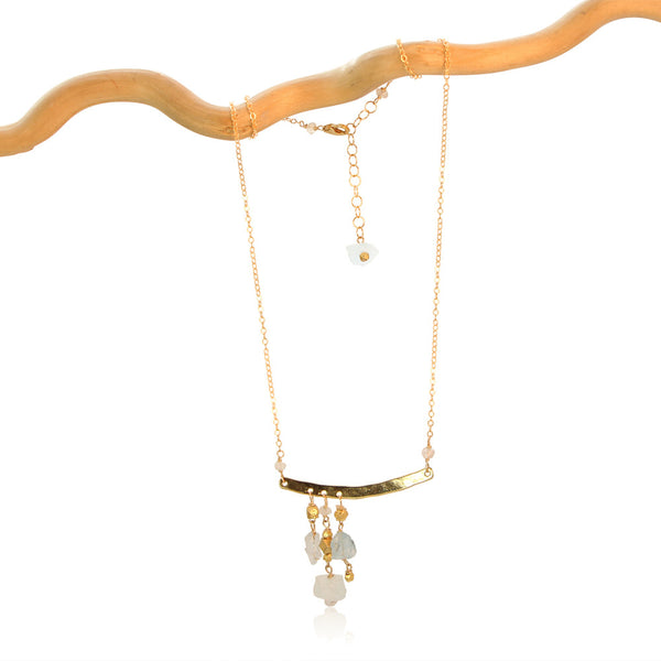 AQUAMARINE 3 DROP OFFSET GOLD FILLED+PLATED NECKLACE