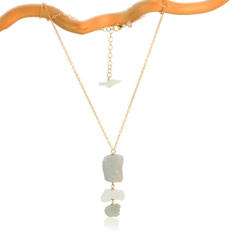 AQUAMARINE 3 ROCK DROP GOLD FILLED+PLATED NECKLACE SIMPLE