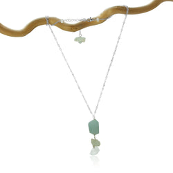 AQUAMARINE 3 ROCK DROP STERLING SILVER NECKLACE SIMPLE