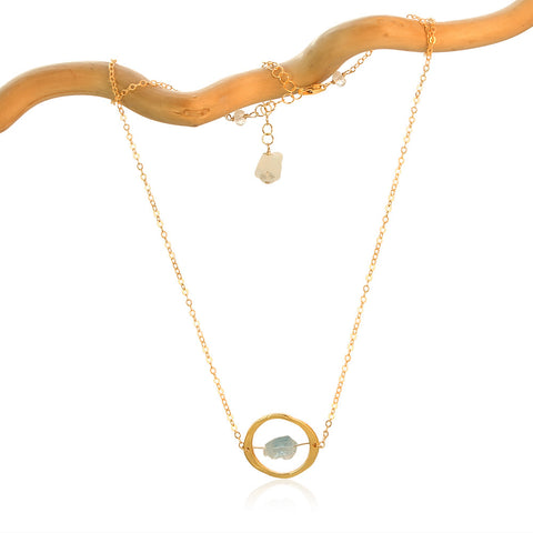 AQUAMARINE HALO GOLD FILLED+PLATED NECKALACE