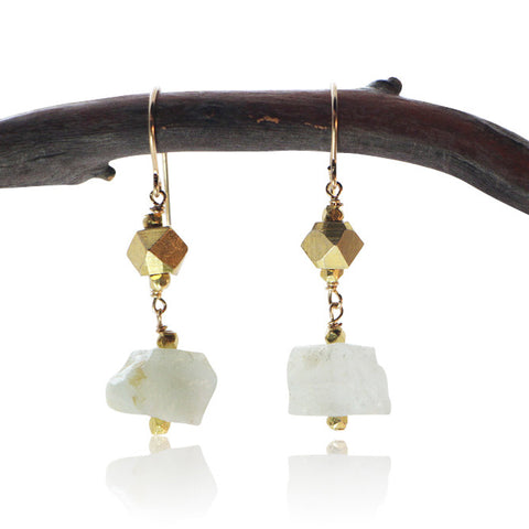 AQUAMARINE SIMPLE NUGGET GOLD FILLED+PLATED EARRINGS