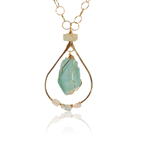 AQUAMARINE LONG SM & LG DOUBLE CHAIN HAMMERED TEAR WITH SEA GLASS GOLD FILLED+PLATED NECKLACE