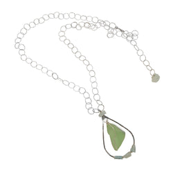 AQUAMARINE LONG SM & LG DOUBLE CHAIN HAMMERED TEAR WITH SEA GLASS STERLING SILVER NECKLACE
