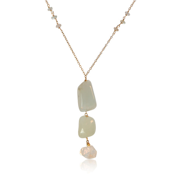 AQUAMARINE 3 ROCK DROP STERLING SILVER NECKLACE SIMPLE WITH 3 ADDITIONS