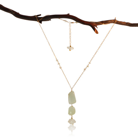 AQUAMARINE 3 ROCK DROP GOLD FILLED+PLATED NECKLACE SIMPLE WITH 3 ADDITIONS
