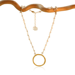 AQUAMARINE KARMA CIRCLE GOLD FILLED+PLATED NECKLACE
