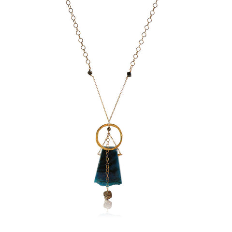 BLUE AGATE PENDANT KARMA DROP GOLD FILLED+PLATED LONG NECKLACE