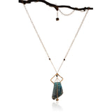 BLUE AGATE PENDANT SQUARE GOLD FILLED+PLATED LONG NECKLACE