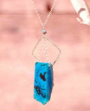 BLUE AGATE Mindful Square Long Gold Necklace