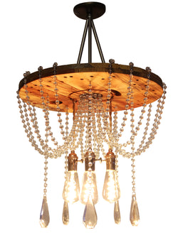 The CIRCLE WOOD CRYSTAL Art Deco CHANDELIER (3 bulbs)