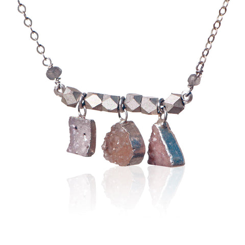 DRUZY 3 SHAPE BAR STERLING SILVER+PLATED NECKLACE