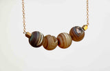 DRUZY 4 SPHERE STRAIGHT SIMPLE NECKLACE