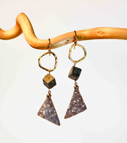 DRUZY TRIANGLE CIRCLE PYRITE NUGGET EARRINGS