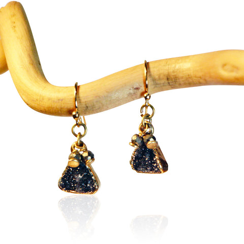 DRUZY SM TRIANGLE PYR ACCENT GOLD FILLED+PLATED EARRINGS